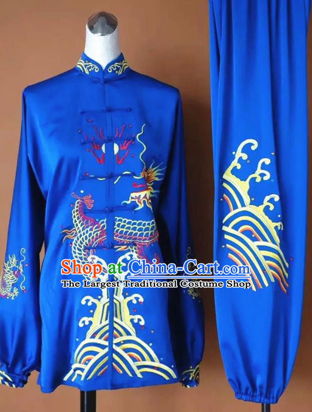 Chinese Martial Arts Changquan Embroidered Royalblue Silk Garment Outfits Traditional Tai Chi Kung Fu Costumes for Adult