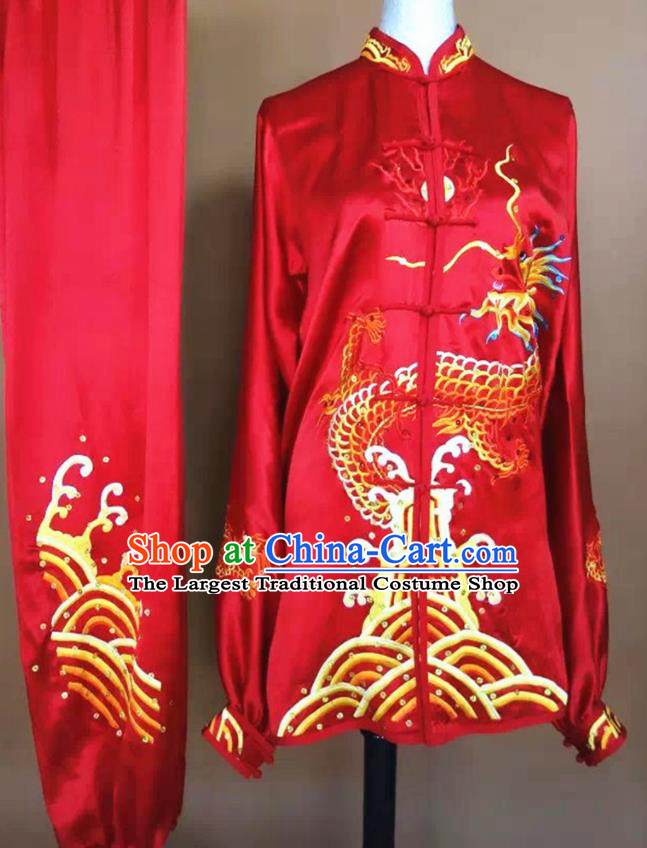 Chinese Martial Arts Changquan Embroidered Red Silk Garment Outfits Traditional Tai Chi Kung Fu Costumes for Adult