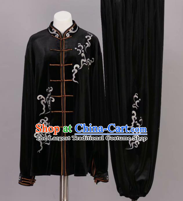 Chinese Tai Chi Black Velvet Garment Outfits Traditional Kung Fu Martial Arts Training Costumes for Adult