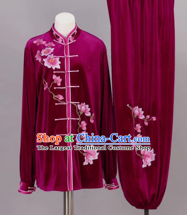 Chinese Tai Chi Embroidered Magnolia Rosy Velvet Garment Outfits Traditional Kung Fu Martial Arts Training Costumes for Adult
