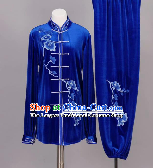 Chinese Tai Chi Embroidered Magnolia Royalblue Velvet Garment Outfits Traditional Kung Fu Martial Arts Training Costumes for Adult
