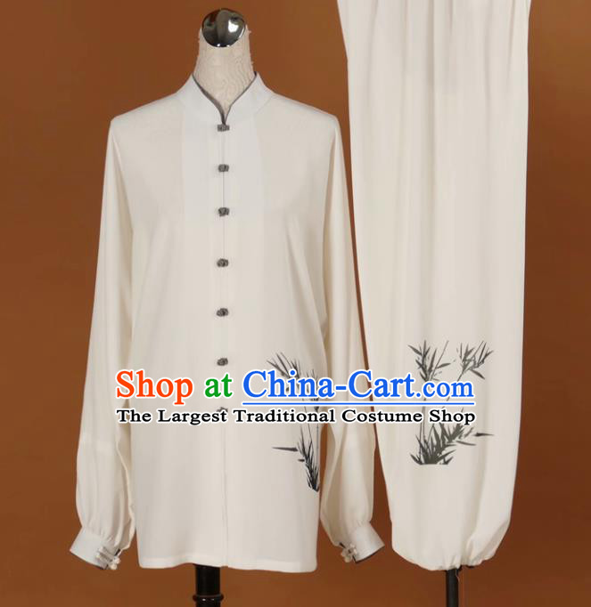 Chinese Tai Chi Printing Bamboo Garment Outfits Traditional Kung Fu Martial Arts Training Costumes for Adult