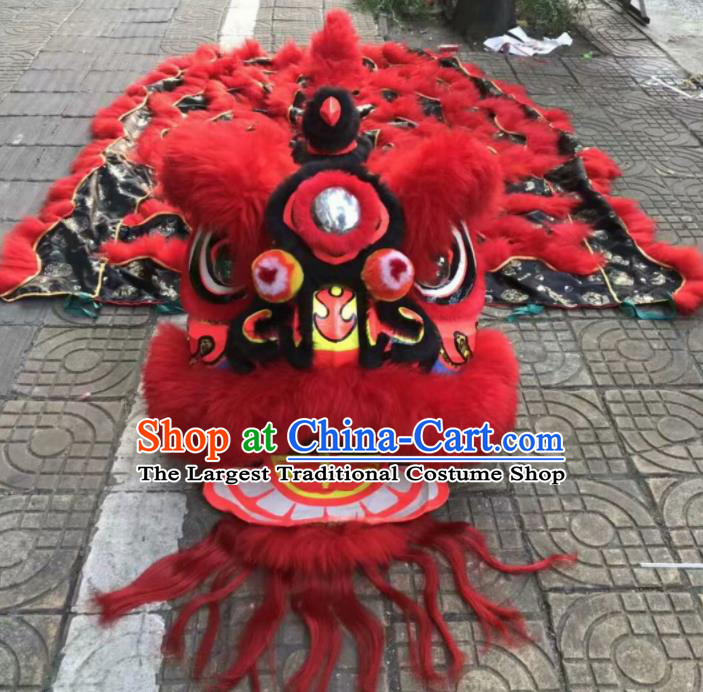 Top Chinese Traditional Lion Dance Competition Red Fur Lion Head Lion Dance Costumes for Adult