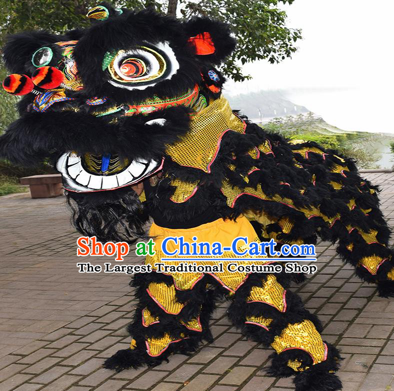 Chinese Traditional Lion Dance Black Fur Lion Head Top Lion Dance Competition Costumes for Adult