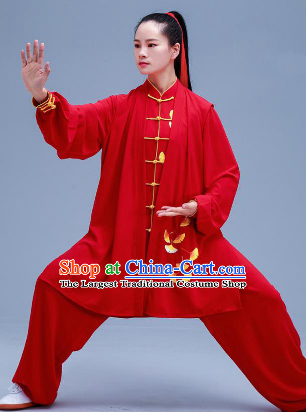 Chinese Traditional Kung Fu Embroidered Ginkgo Leaf Red Outfits Martial Arts Competition Costumes for Women