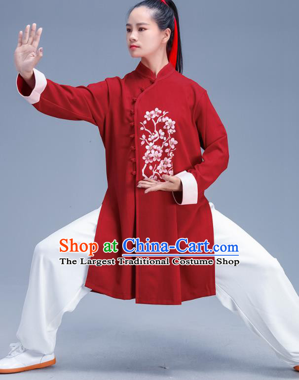 Chinese Traditional Kung Fu Stage Show Printing Plum Red Outfits Martial Arts Competition Costumes for Women