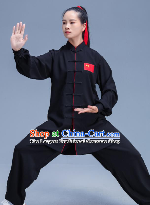 Chinese Traditional Kung Fu Stage Show Black Outfits Martial Arts Competition Costumes for Women