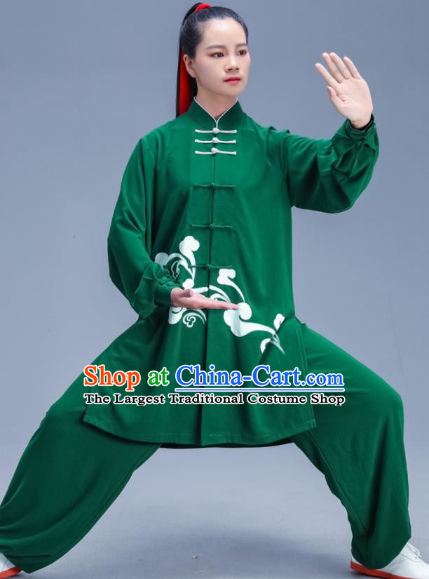 Chinese Traditional Kung Fu Competition Printing Green Outfits Martial Arts Stage Show Costumes for Women