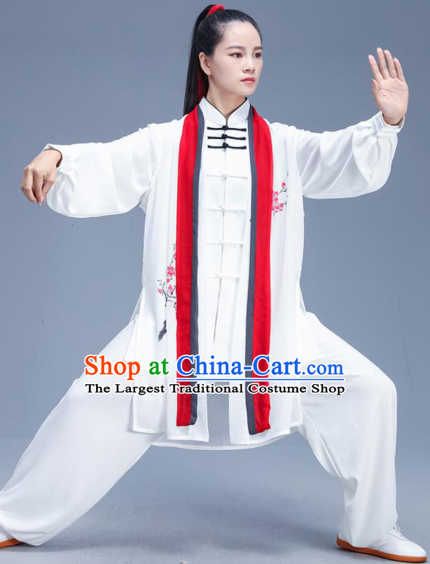Chinese Traditional Kung Fu Competition Printing Plum White Outfits Martial Arts Stage Show Costumes for Women