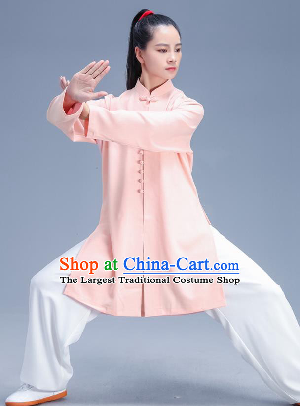 Chinese Traditional Kung Fu Competition Pink Shirt and Pants Outfits Martial Arts Stage Show Costumes for Women