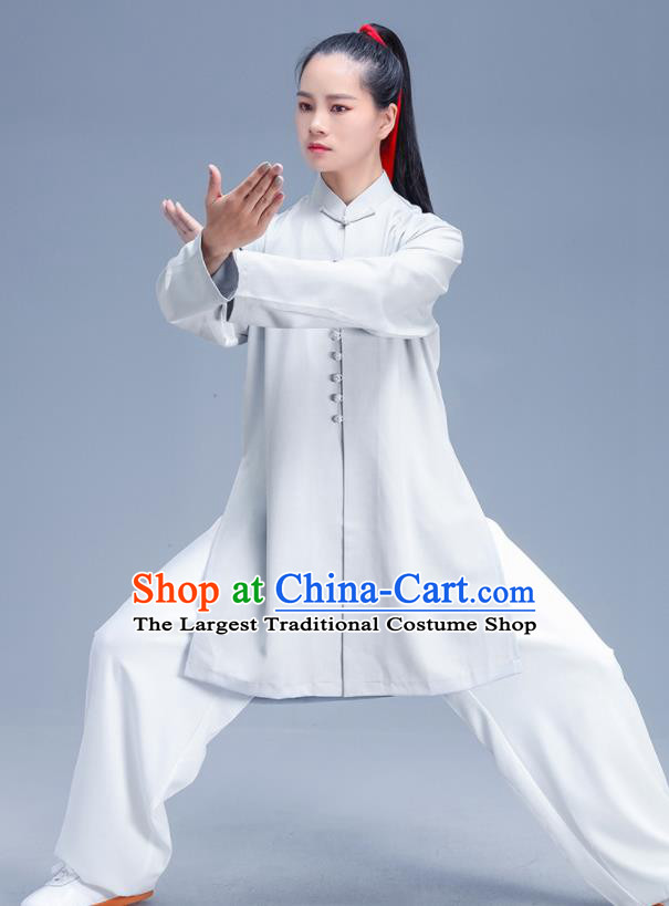 Chinese Traditional Kung Fu Competition Grey Shirt and Pants Outfits Martial Arts Stage Show Costumes for Women