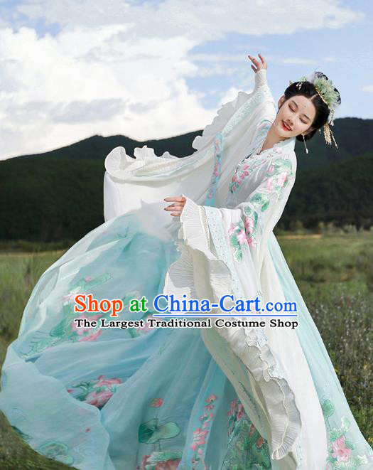Traditional Chinese Embroidered Lotus Blue Hanfu Dress Ancient Goddess Empress Costumes for Women