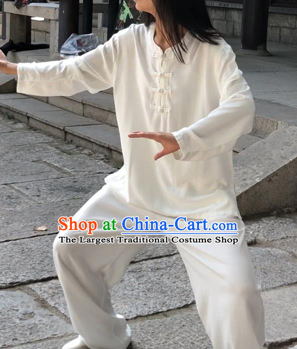 Chinese Martial Arts White Flax Garment Outfits Traditional Tai Chi Kung Fu Costumes for Adult