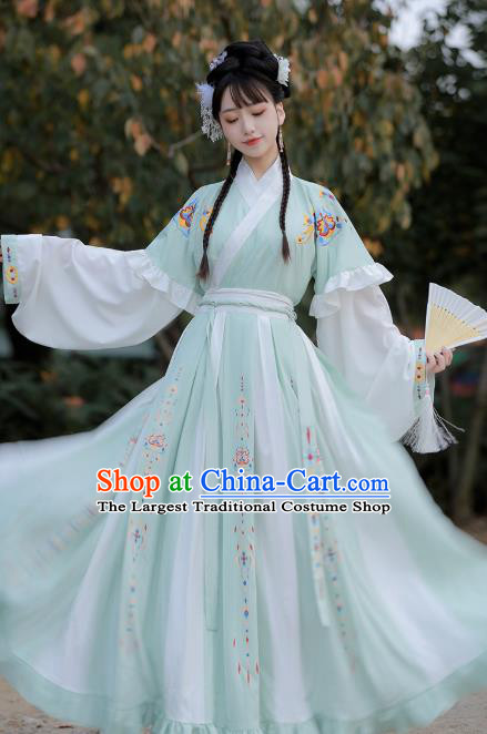 Traditional Chinese Jin Dynasty Historical Costumes Ancient Princess Goddess Green Hanfu Dress for Women