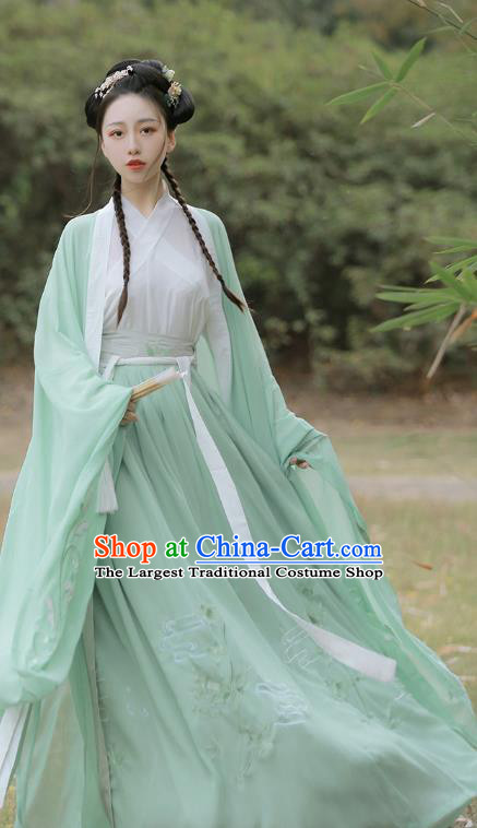 Traditional Chinese Jin Dynasty Princess Historical Costumes Ancient Goddess Green Hanfu Dress for Women