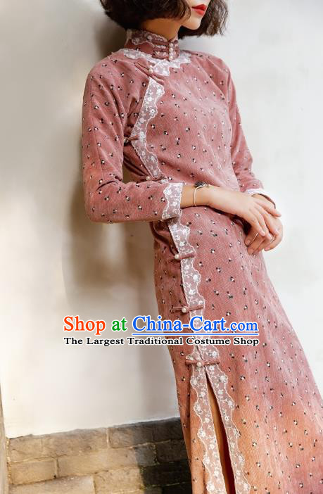 Chinese Traditional Pink Corduroy Qipao Dress National Tang Suit Cheongsam Costumes for Women