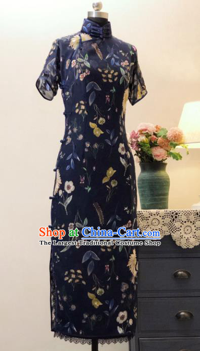 Chinese Traditional Navy Chiffon Qipao Dress National Tang Suit Cheongsam Costumes for Women