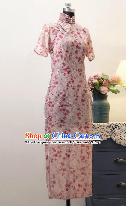 Chinese Traditional Pink Chiffon Qipao Dress National Tang Suit Cheongsam Costumes for Women