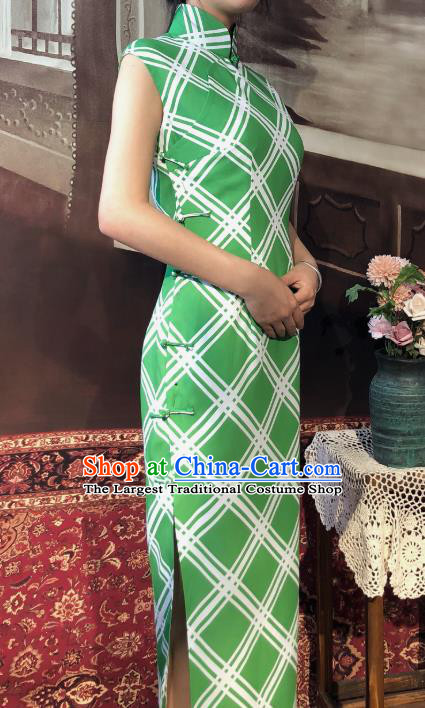 Chinese Traditional Green Chiffon Qipao Dress National Tang Suit Cheongsam Costumes for Women