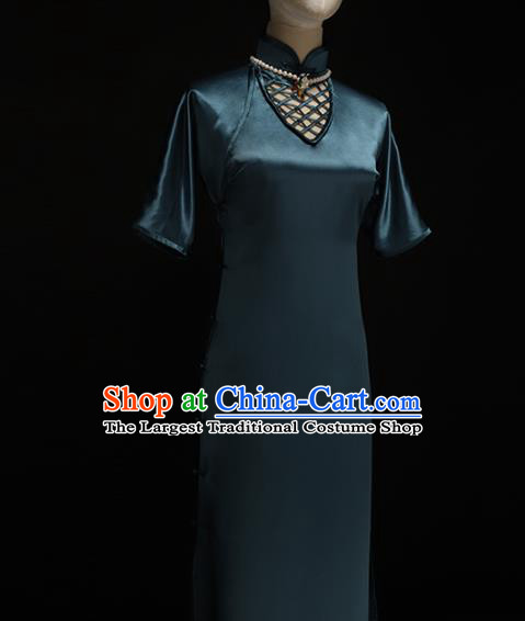 Chinese Traditional Peacock Blue Silk Qipao Dress National Tang Suit Cheongsam Costumes for Women