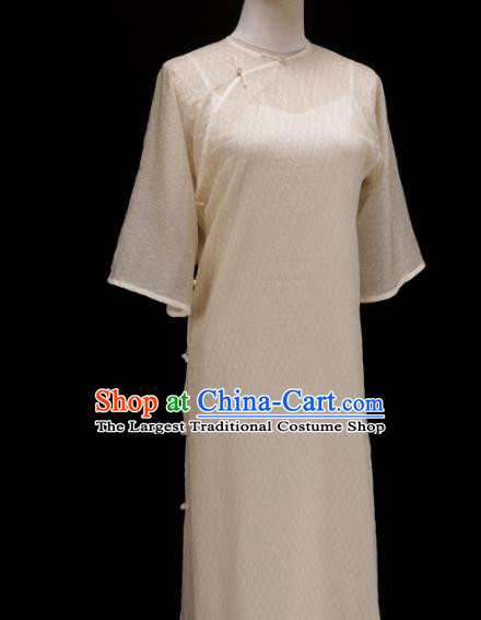 Chinese Traditional White Silk Qipao Dress National Tang Suit Cheongsam Costumes for Women