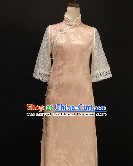 Chinese Traditional Jacquard Pink Qipao Dress National Tang Suit Cheongsam Costumes for Women