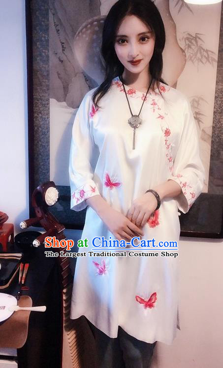 Chinese Traditional Embroidered Butterfly White Qipao Dress National Tang Suit Cheongsam Costumes for Women