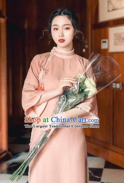 Chinese Traditional Retro Pink Qipao Dress National Tang Suit Cheongsam Costumes for Women