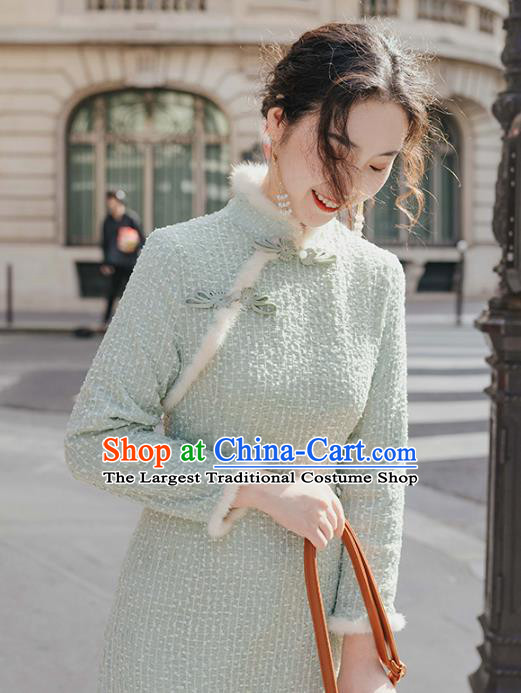 Chinese Traditional Winter Retro Light Green Qipao Dress National Tang Suit Cheongsam Costumes for Women
