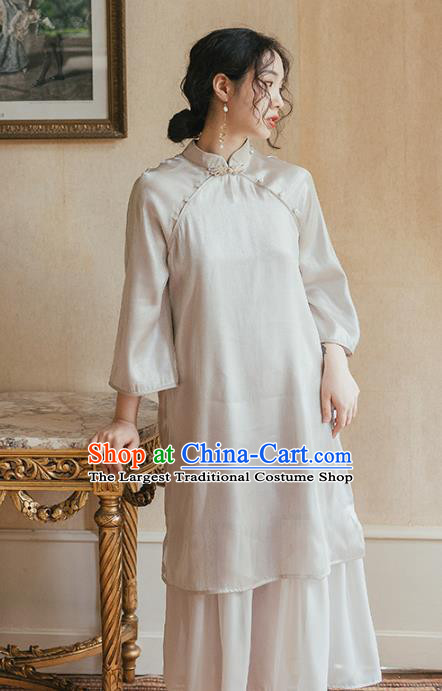 Chinese Traditional Retro Light Grey Qipao Dress National Tang Suit Cheongsam Costumes for Women