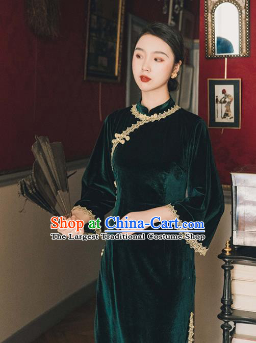 Chinese Traditional Retro Deep Green Velvet Qipao Dress National Tang Suit Cheongsam Costumes for Women