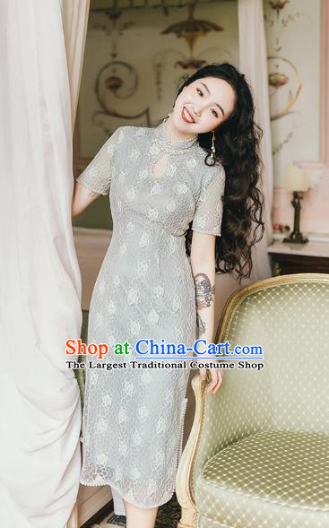 Chinese Traditional Retro Green Lace Qipao Dress National Tang Suit Cheongsam Costumes for Women