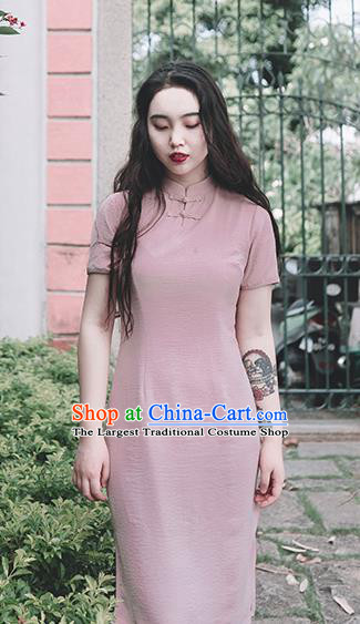 Chinese Traditional Pink Short Qipao Dress National Tang Suit Cheongsam Costumes for Women