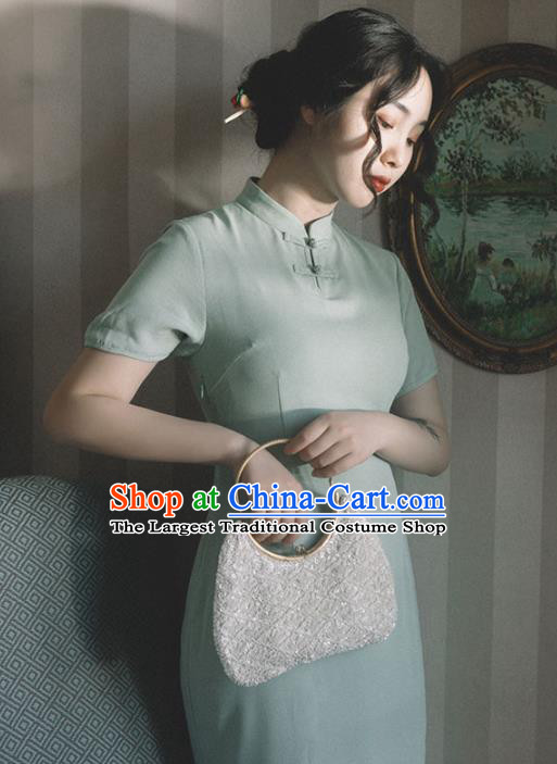 Chinese Traditional Green Short Qipao Dress National Tang Suit Cheongsam Costumes for Women