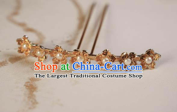 Chinese Traditional Ming Dynasty Princess Golden Hair Accessories Ancient Court Queen Hairpins for Women