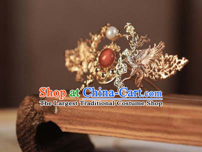 Chinese Traditional Ming Dynasty Empress Hair Accessories Ancient Court Queen Golden Hairpins for Women