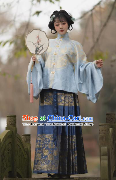 Chinese Traditional Ming Dynasty Princess Blue Dress Ancient Court Lady Historical Costumes for Women