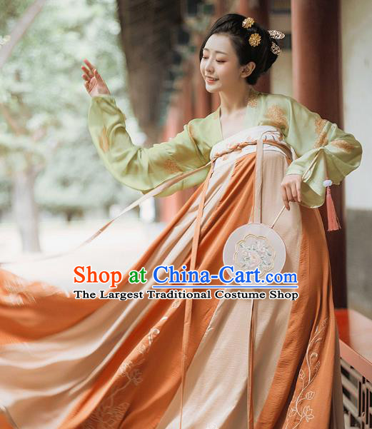 Chinese Traditional Tang Dynasty Palace Lady Dress Ancient Court Maid Historical Costumes for Women
