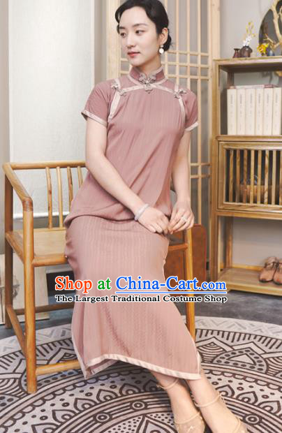 Republic of China Traditional Pink Qipao Dress Chinese National Tang Suit Cheongsam Costumes for Women