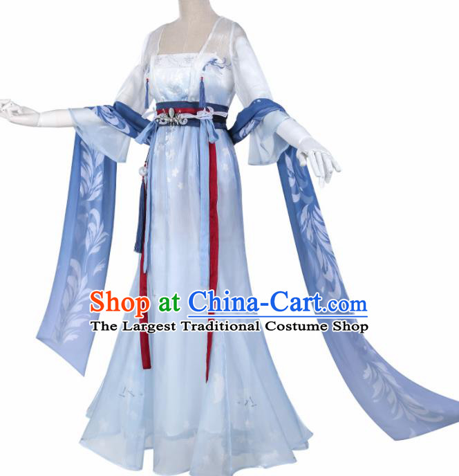 Chinese Cosplay Fairy Light Blue Hanfu Dress Traditional Ancient Female Swordsman Costumes for Women