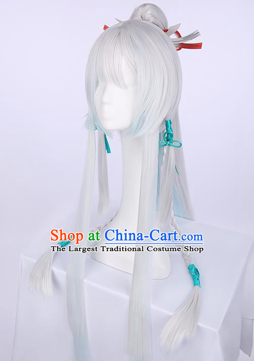 Chinese Traditional Han Dynasty Prince White Wigs Ancient Swordsman Wig Sheath for Men