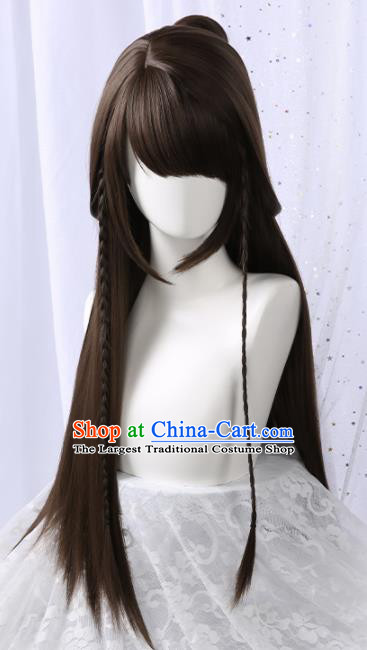 Chinese Traditional Cosplay Black Wigs Ancient Princess Wig Sheath for Women