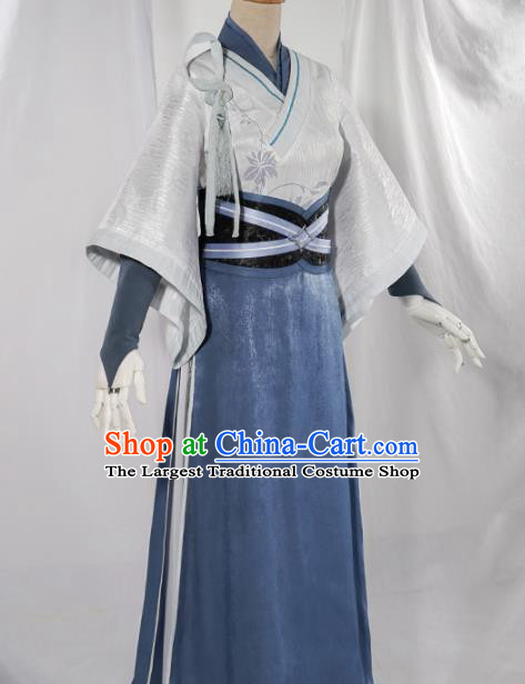 Chinese Traditional Cosplay White Hanfu Dress Ancient Swordsman Costumes for Women