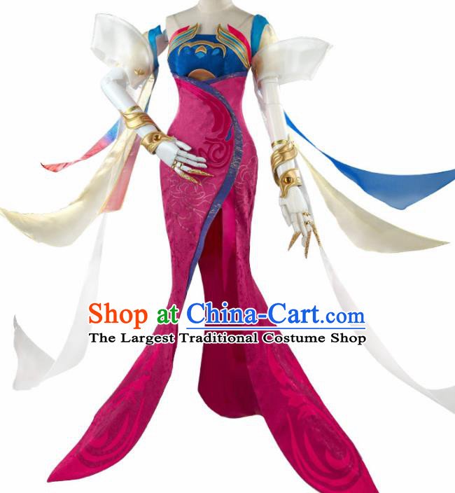 Chinese Cosplay Female Swordsman Rosy Hanfu Dress Traditional Ancient Princess Costumes for Women