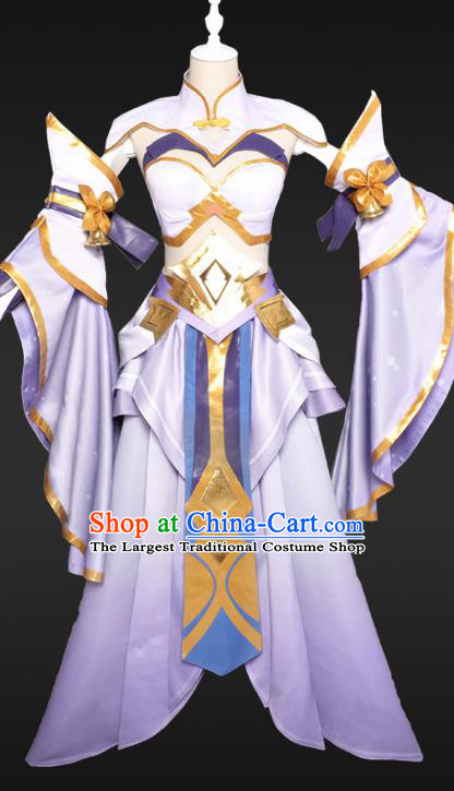 Chinese Cosplay Female Swordsman Lilac Hanfu Dress Traditional Ancient Princess Costumes for Women