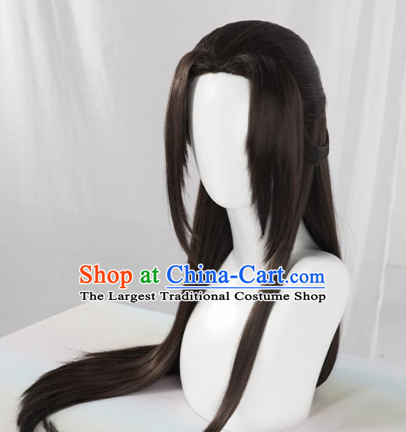 Chinese Traditional Cosplay Black Wigs Ancient Swordsman Wig Sheath for Men