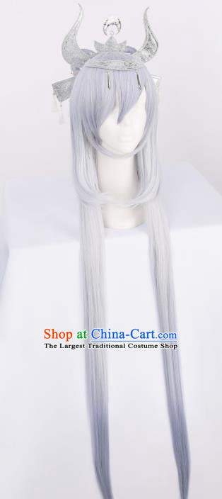 Chinese Traditional Cosplay Fairy Lilac Wigs Ancient Swordsman Wig Sheath for Women