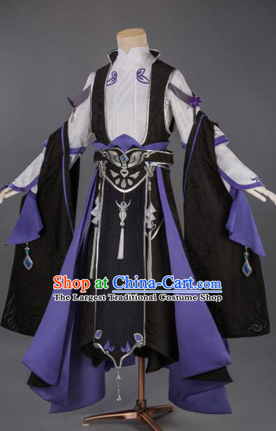 Chinese Traditional Cosplay Prince Purple Clothing Ancient Swordsman Costumes for Men