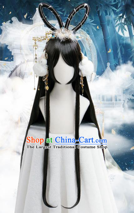 Chinese Traditional Cosplay Goddess Wigs Ancient Princess Wig Sheath for Women