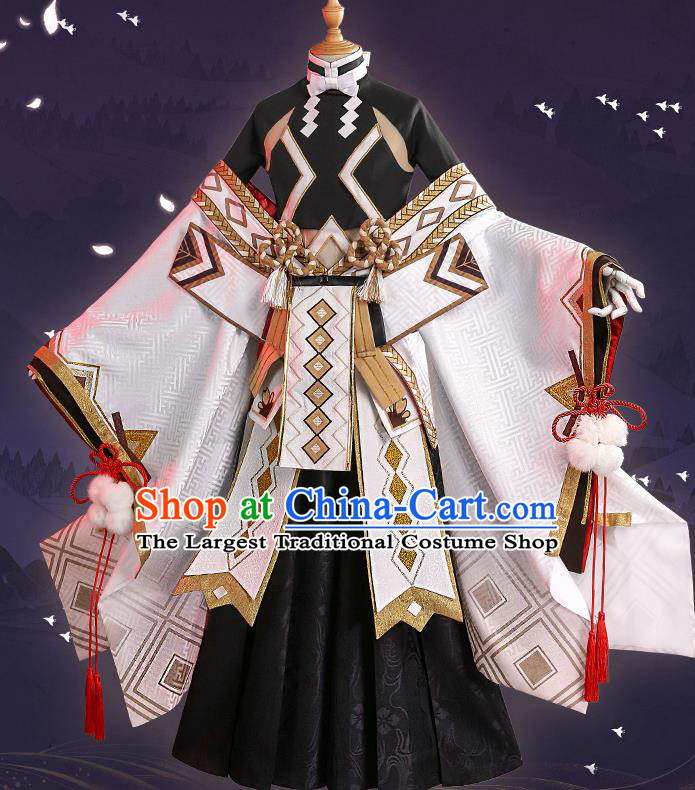 Japanese Traditional Cosplay Knight Black Clothing Ancient Swordsman Costumes for Men